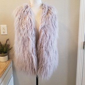 MinkPink Gray Faux Fur Vest